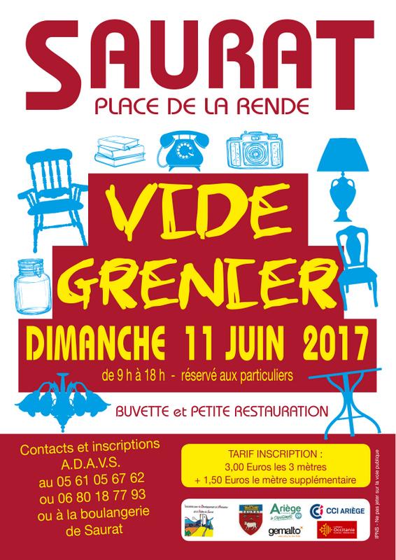 Vide grenier à Saurat 11 juin 2017
