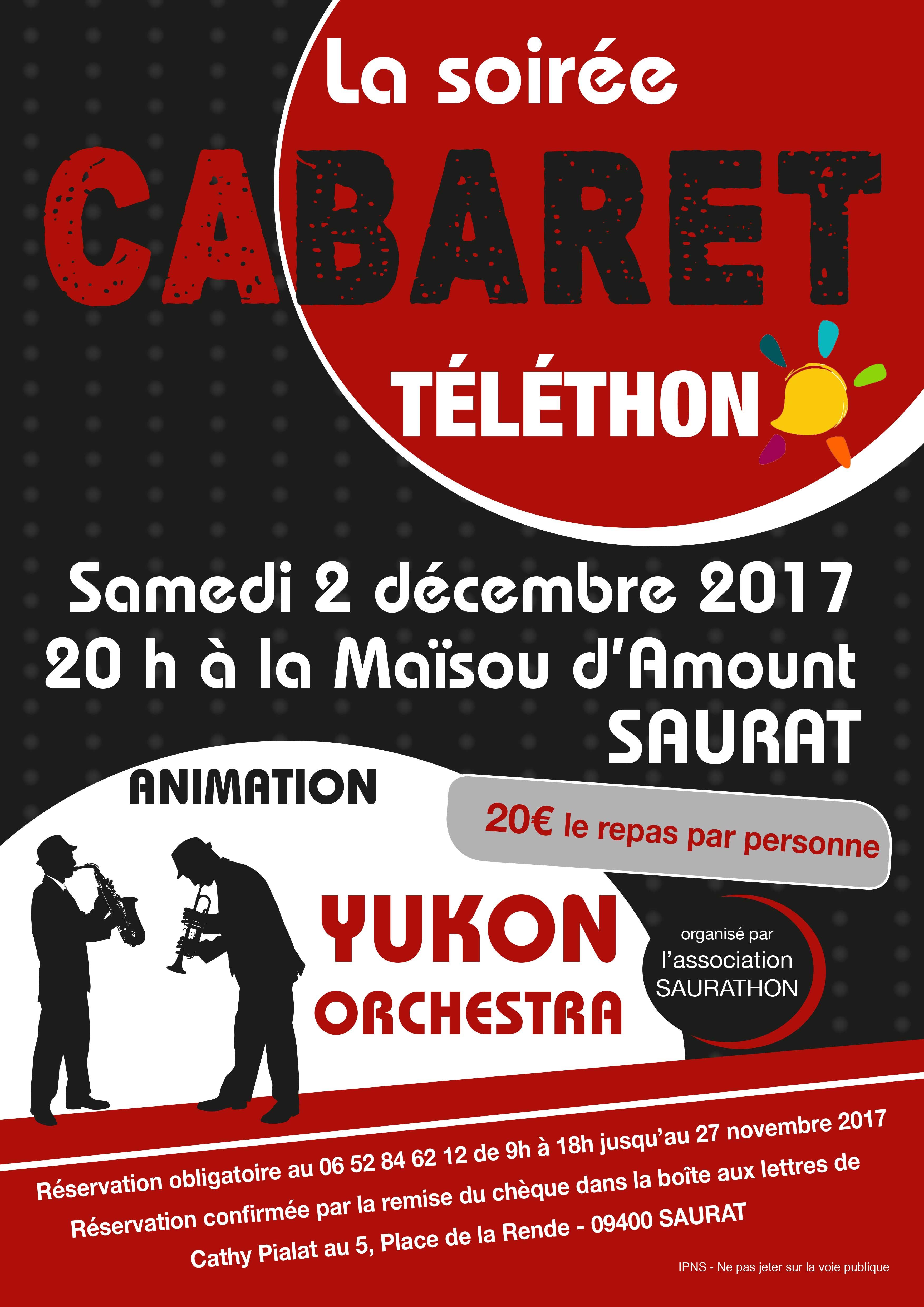 Soirée Cabaret au profit du téléthon - Saurat le 2 décembre 2017