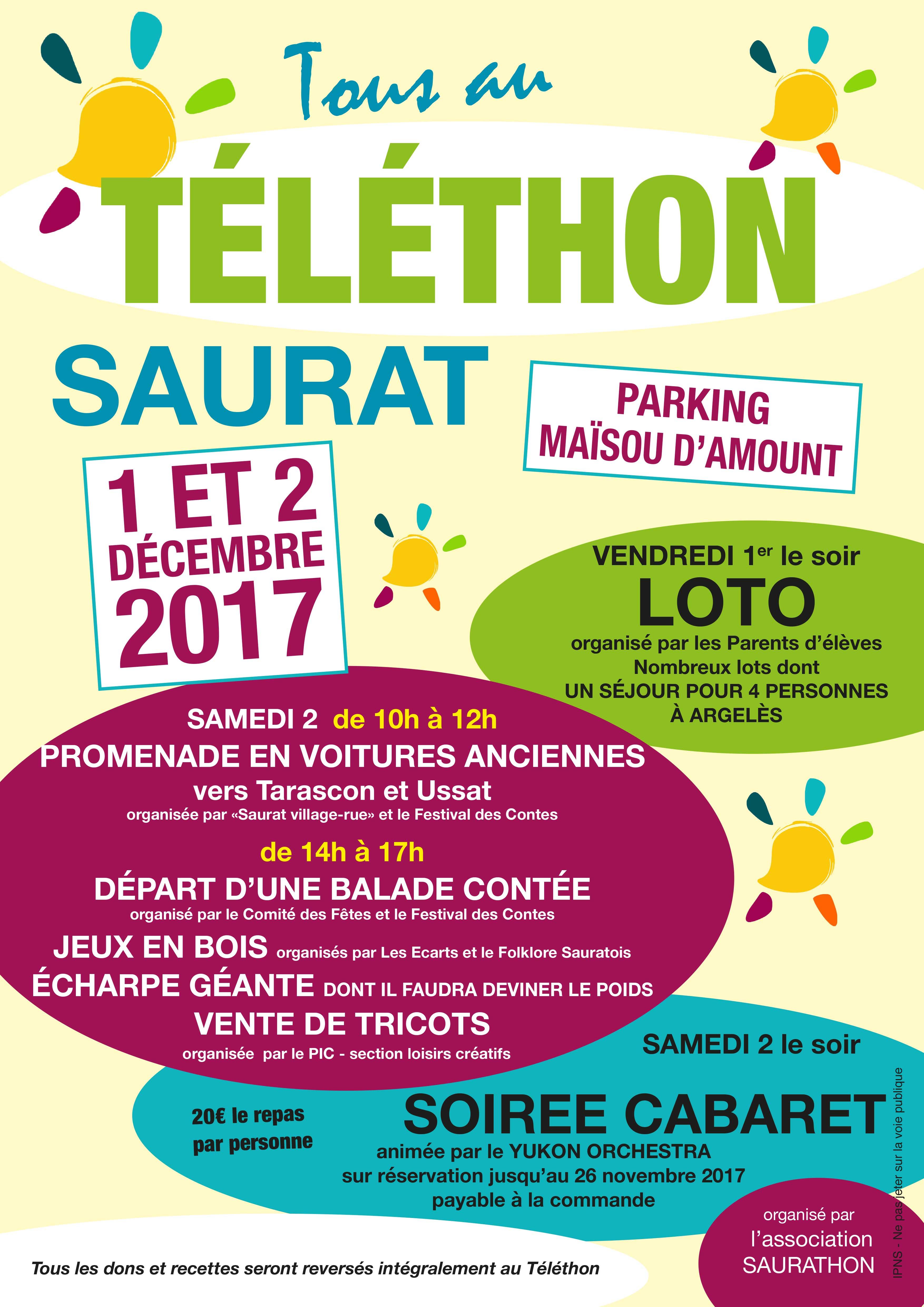 Téléthon Saurat 1 et 2 décembre 2017