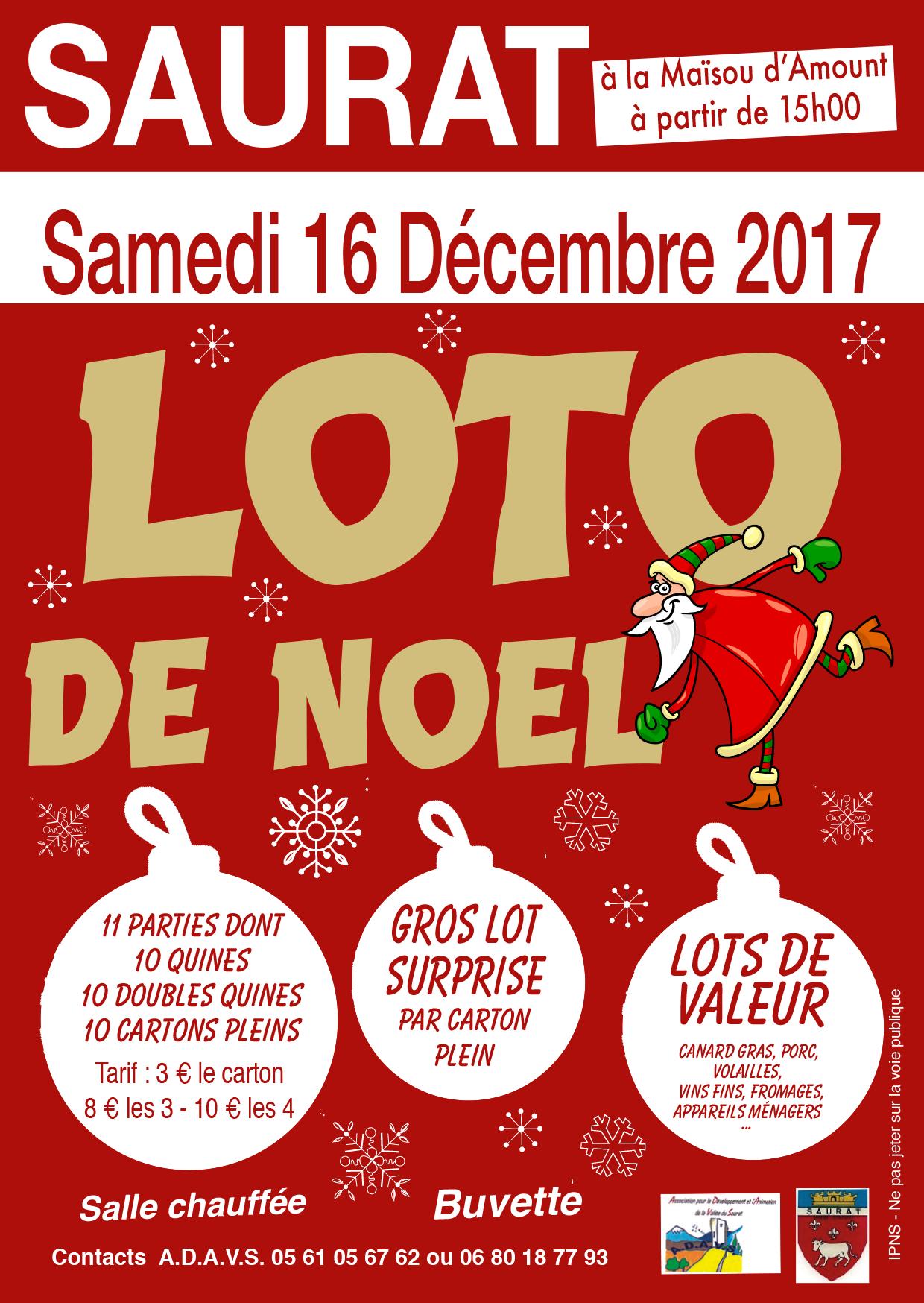 SAURAT Loto de Noël 16 décembre 2017