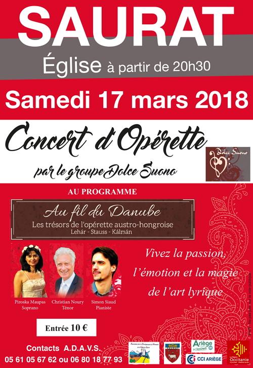 Concert d'opérette à l'Eglise de Saurat le 17 mars 2017