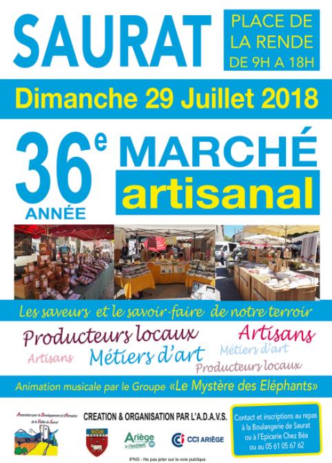Saurat marché artisanal du 29 Juillet 2018